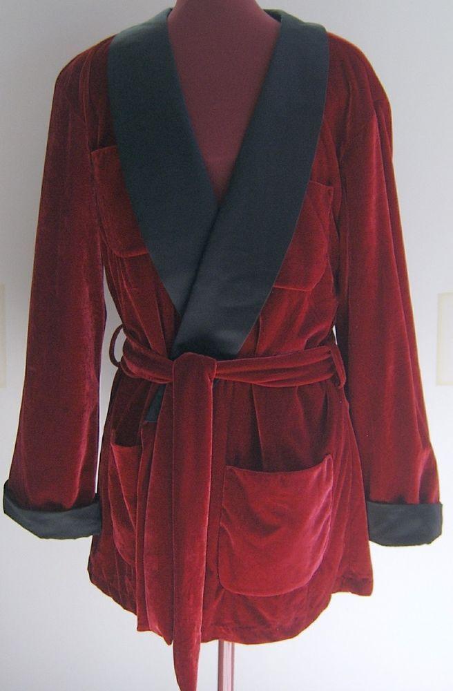 Playboy Mens Smoking Jacket Costume Halloween Hugh Hefner Adult Robe Red One Sz #PlayboyCostume #SmokingJacket