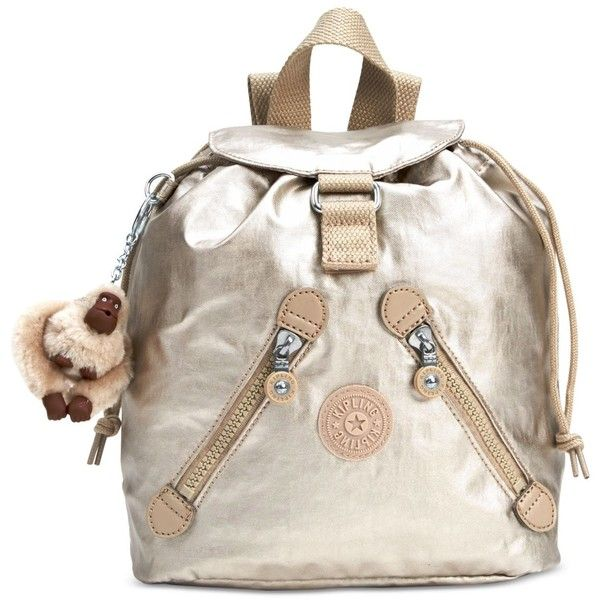 Kipling Fundamental Mini Backpack ($69) ❤ liked on Polyvore featuring bags, backpacks, gleaming gold metallic, kipling, white backpack, kipling backpack, day pack backpack and miniature backpack