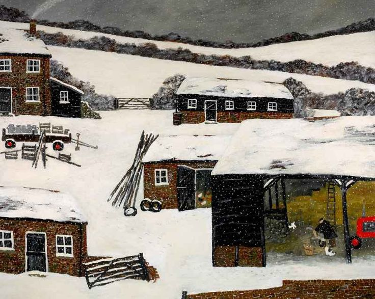Gary Bunt | (07) The North Wind.   GARY BUNT  (07) The North Wind  Oil on canvas  48 x 60 ins  SOLD  It's cold outside  The North Wind doth blow Landscape sleeps beneath the snow Chopping kindling in the barn A winter's day down on the farm