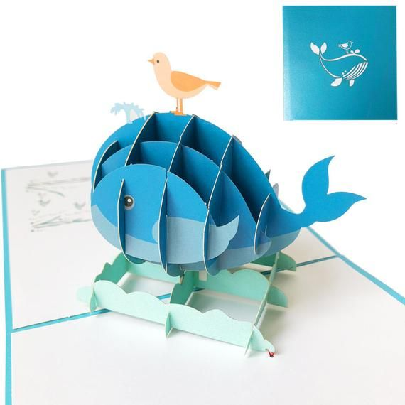 3D Kids' Birthday Card–Whale | Back to School Card | Pop Up Card | Pop Out Card | Kids' Birthday Invitation Cards | Friendship Card