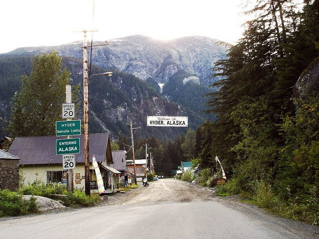 Hyder, Alaska yes you can tell your in America the Tarmac road ends