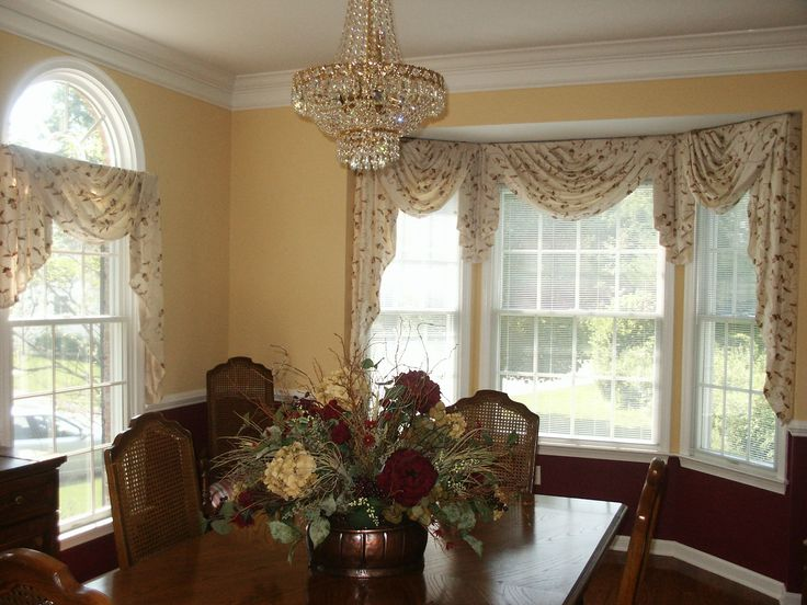 Swag Amp Jabot Treatment On Bay Window Swags Amp Valances In