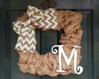 Burlap Wreath with Gray Chevron Burlap Bow Front by SalemStudios