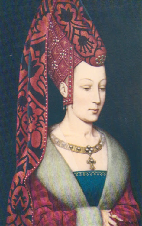 Isabella of Portugal.  red/white, blue panel underneath, transparent material behind around the neckline, big gold necklace.