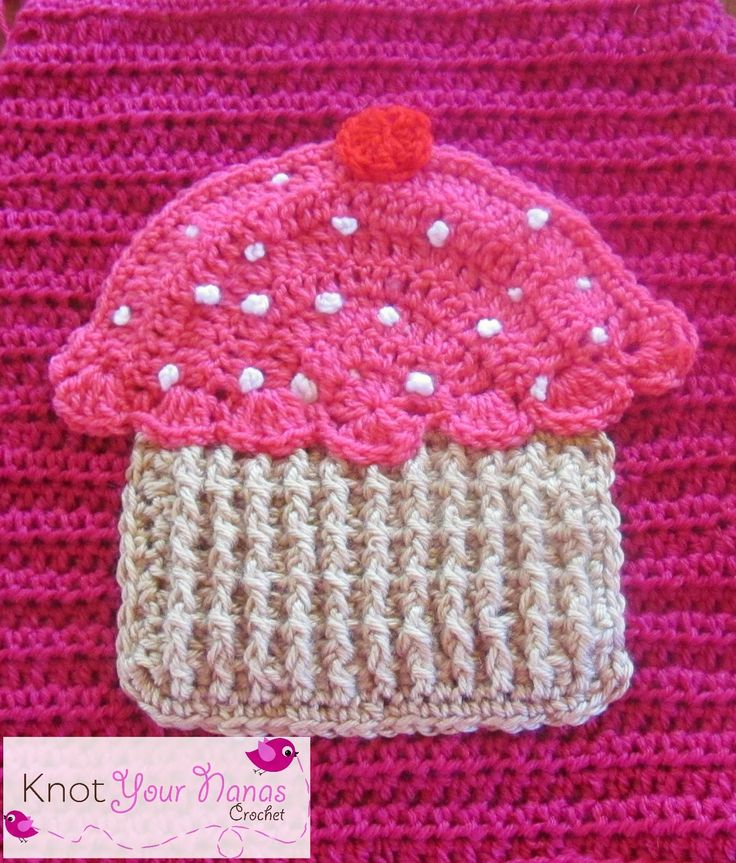 crochet cupcake applique