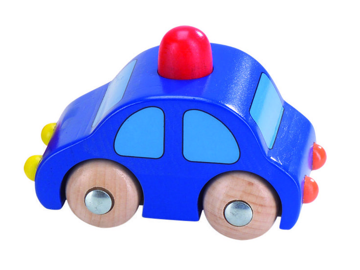 Natural and high quality toys to the development of the skills of children. Blue car with red horn