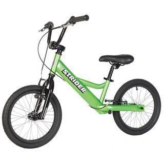 """Strider 16"""" Sport (зеленый)  — 18200р. ------------------------- Беговел Strider 16"""" Sport (зеленый) оптимален для тех, кто только учится кататься на велосипеде, для детей с особыми потребностями и для райдеров, совершенствующих свое мастерство в экстремальном катании на беговеле. Максимальную безопасность обеспечивают 2 ручных тормоза на каждое колесо - """"V""""-Brake. Руль имеет низкий вынос, который регулируется по высоте и углу наклона. Дополнительная перекладина руля и двойное соединение…"""