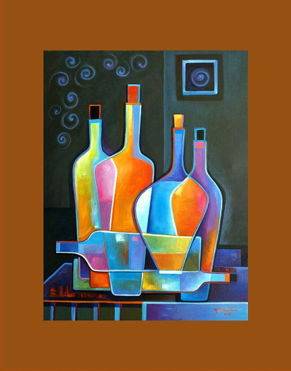 Abstract  Cubist Wine #3 Original Oil Painting on canvas Marlina Vera Fine Art Gallery Modern Artwork sale