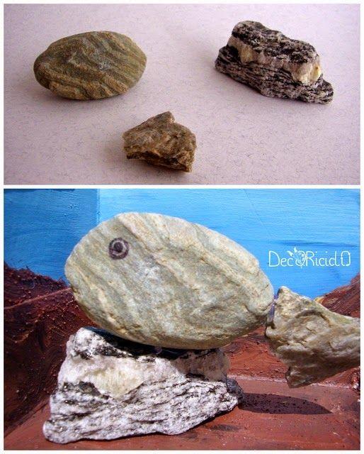 decoriciclo: pesce 3D, fatto con 3 sassi