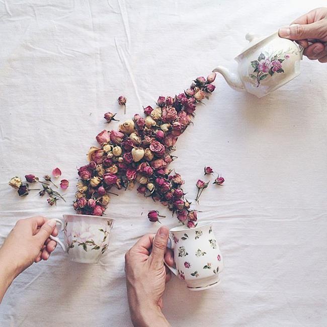 Rus Sanatçı Marina Malinovaya'dan Fincan ve Çiçeklerle Yapılmış 20 Muazzam Çalışma Sanatlı Bi Blog 13