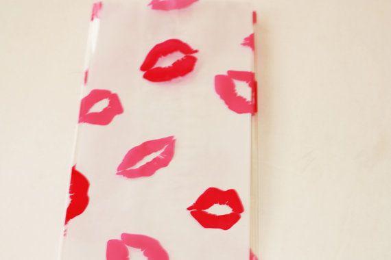 "12 Kiss Pink Dark Pink Lip Cellophane party favor bags Treat Bag, Cello Bag, Tall Gift Bag  4"" x 2.5"" x 9.5"" Girl Birthday party Supplies"