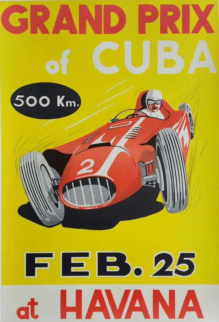 Original vintage poster grand prix of cuba 1957