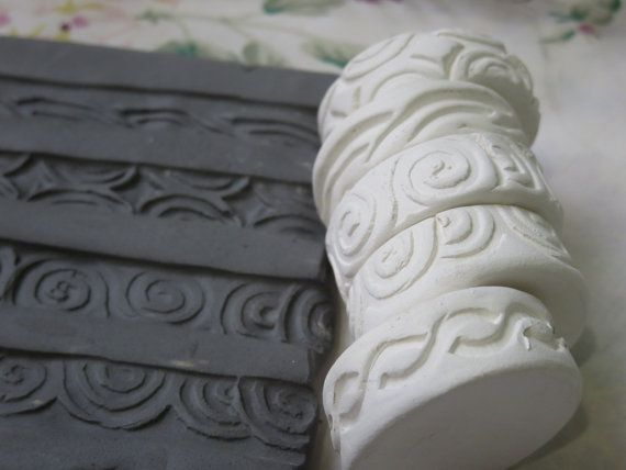 Celtic Curls Scroll Theme Clay Stamp Roller Set of Five Unique Border  Design Bisque Pottery Tool for Ceramic Decoration and Texture