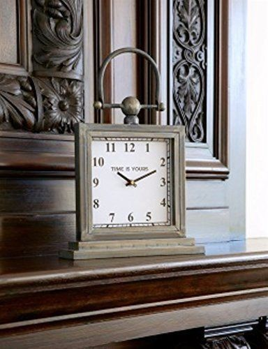 Vintage Design Metal Mantel or Desk Clock with Handle