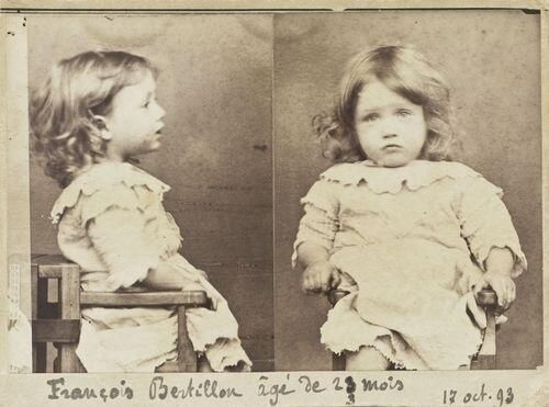 """""""He was arrested for 'nibbling all the pears from a basket'.""""  1893 French Mug shot of François Bertillon Age: 23 months Crime: Gluttony"""