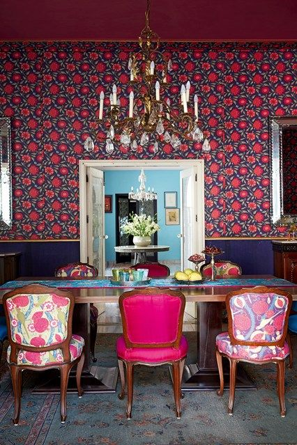 The most striking room in Anita Lal's Delhi house is the dining room. Inspired by the exquisite kalamkari tent of Tipu Sultan, the king of Mysore in the eighteenth century (which is included in the V&A Fabric of India exhibition), it has a dramatically coloured chintz-design fabric battened onto the walls to create a tent-like effect. The fabric was designed by Anita's team and, as Anita is keen to point out, printed onto a very inexpensive cloth.