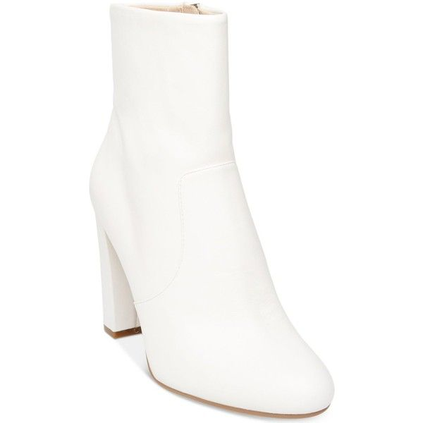 Steve Madden Editor Block-Heel Booties ($129) ❤ liked on Polyvore featuring shoes, boots, ankle booties, white leather, block heel boots, leather boots, real leather boots, white leather boots and retro boots