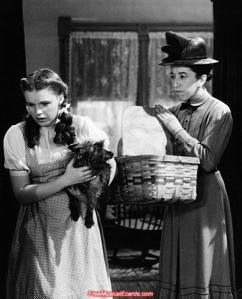 The pretty Judy Garland as Dorothy and Margaret Hamilton who played the horribly mean Miss Gulch together in The Wizard of Oz. The Merv Griffin Show in 1968 was a memorable renunion of the pair.