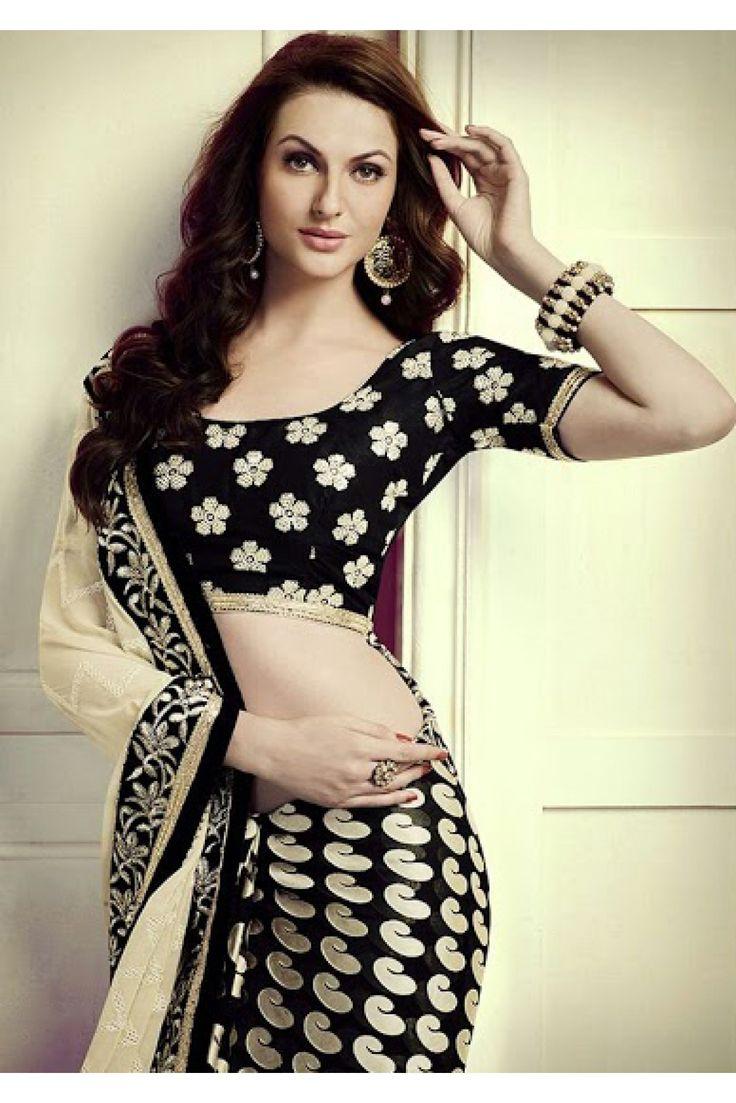 Black colour saree images brasso and pure chiffon party wear designer saree in cream and black
