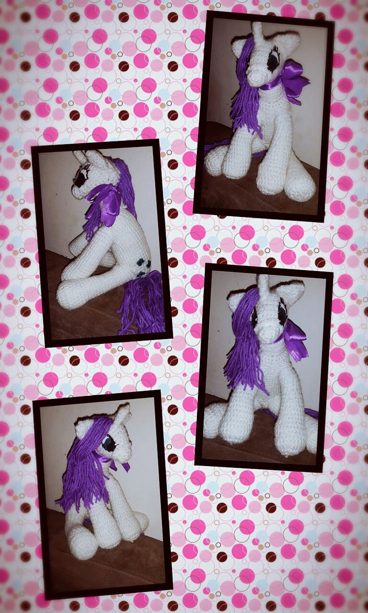 First completed for a little project to make toys for the annual Toy Run. Pattern from http://knitoneawesome.blogspot.co.za/2012/11/my-little-pony-friendship-is-magic.html?m=1 #mylittlepony #rarity #homemadetoys