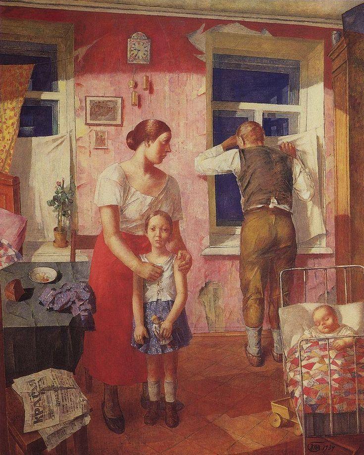 1919. Alarm, 1934 by Kuzma Petrov-Vodkin (Russian, 1878-1939)