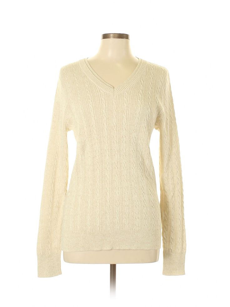 SONOMA life + style Pullover Sweater: Beige Solid V Neck Women's Tops – Size Large