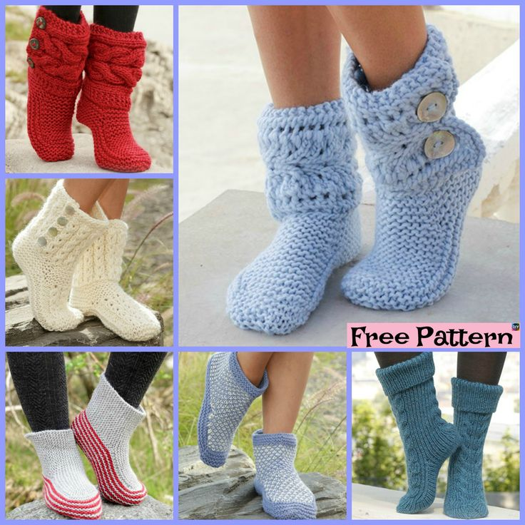 10 Knitted Cozy Slippers Free Patterns Crochet Knit