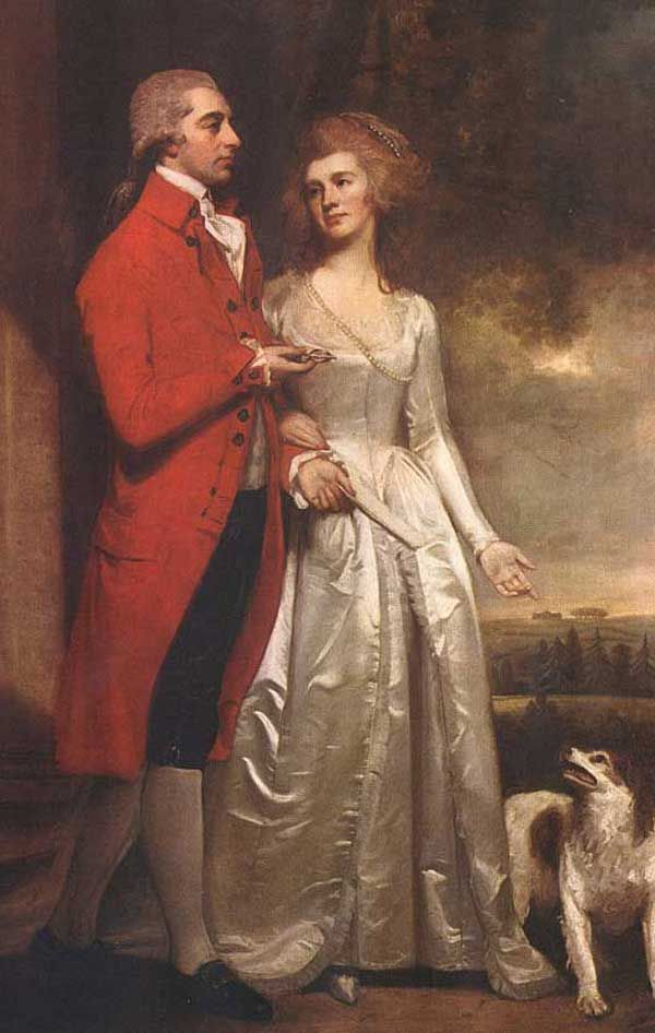 Sir Christopher and Lady Sykes strolling in the garden at Sledmere, George Romney. English (1734-1802)