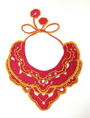 Margarita necklace by contemporary crochet artist and designer Margaret Daszkiewicz. Jewellery commissioned for the Art Gallery of NSW Gallery Shop to complement the Frida & Diego exhibition.