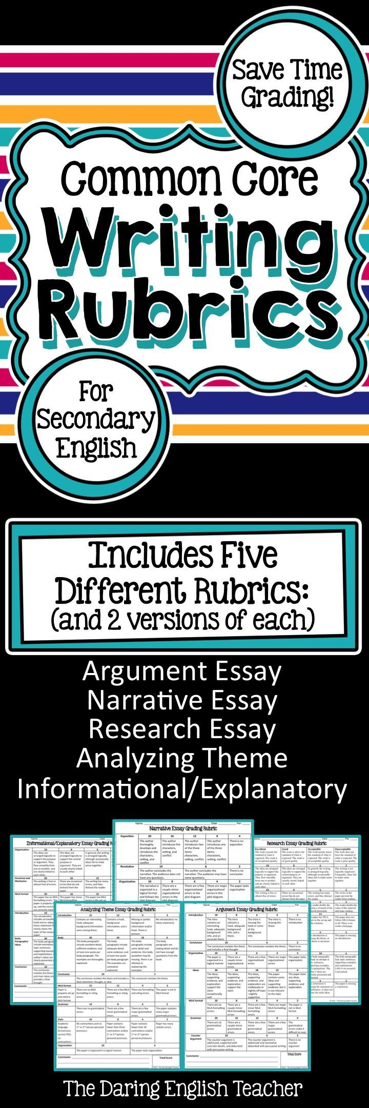 These CCSS aligned writing rubrics will help you save time grading your students' essays. They are ideal for secondary teachers.
