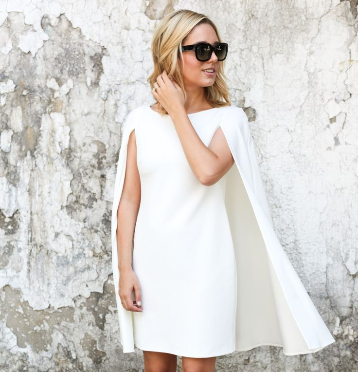 White Cape Dress [similar style here] | Sunglasses A few months ago I fell in love with these cape blazers.  They're the perfect way to easily add polish and interest to any look.  So you can imagi...