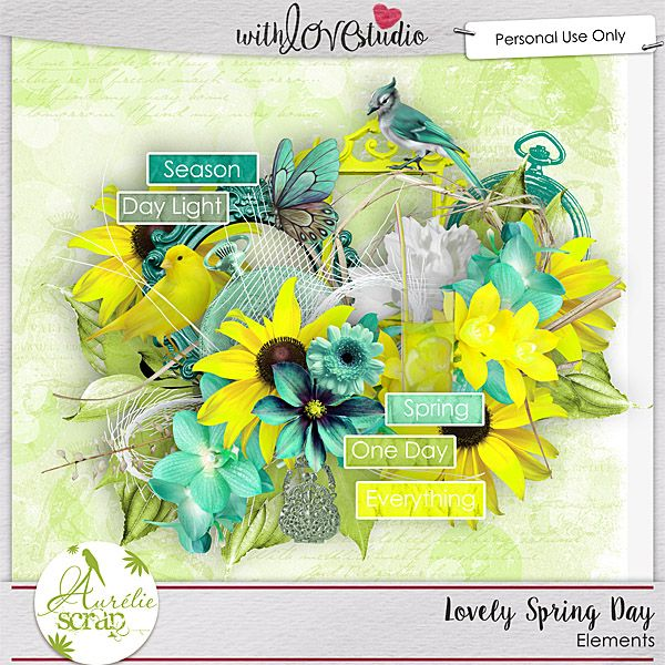 """Kit """"Lovely Spring Day"""" by Aurélie Scrap. Welcome spring in this flowered and shiny kit... A life anthem. It contains : 10 papers 65 elements"""