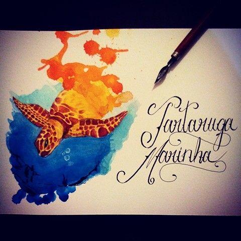 Tartaruga marinha arte em aquarela