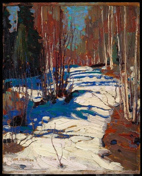 ymutate: Tom Thomson, Path behind Mowat Lodge 1917 Oil on wood 26.8 x 21.4 cm Thomson Collection, AGO © Art Gallery of Ontario, found at art blart