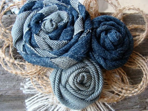 Burlap and Denim Flower Pin  Country Western Rustic by resadavid, $9.95