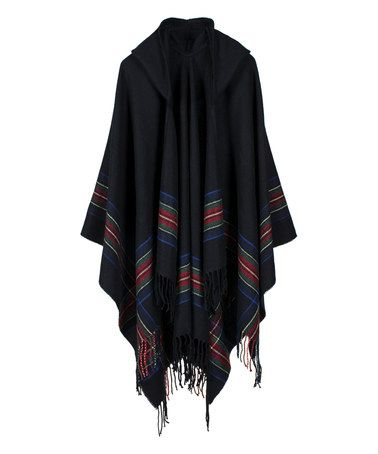 Another great find on #zulily! Black Stripe Hooded Shawl Wrap #zulilyfinds