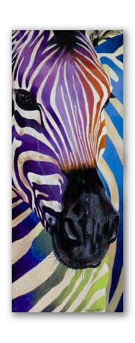 """""""Cebra psycho"""" - Increíble retrato animal, al óleo sobre tela, de una cebra, con rayas de colores muy psicodélicos. Con un acabado realista y gran detalle.  El cuadro tiene una proporción alargada, como pocos en nuestra tienda. Esto le confiere un gran valor decorativo y alta versatilidad, ya que es más fácil de situar en espacios estrechos."""