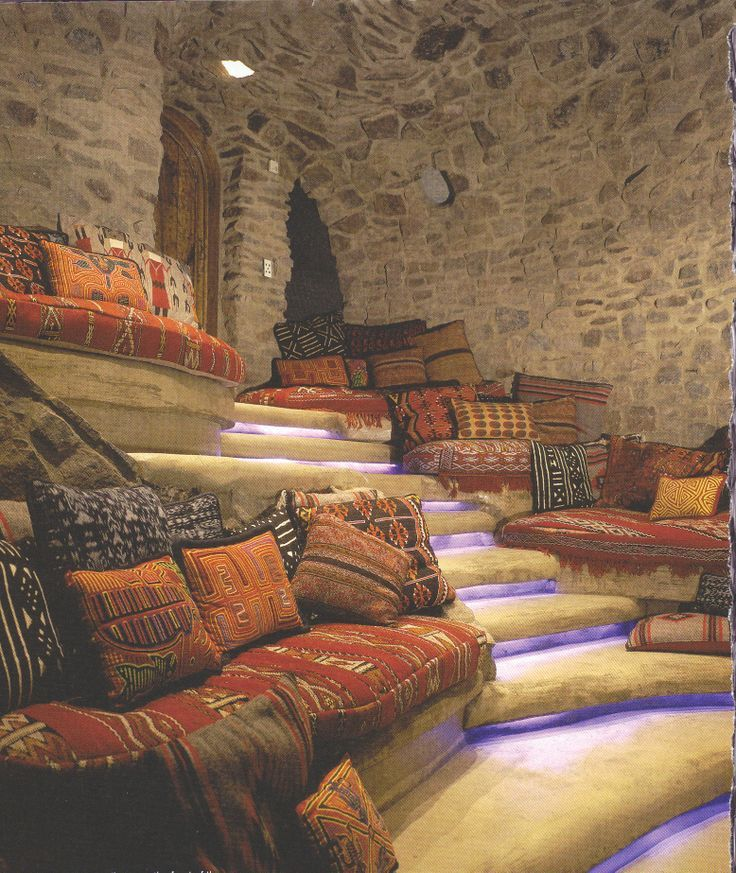 Small Home Theater Room Design: Moroccan Bohemian Decoration Amazing Poofs Pillows All And