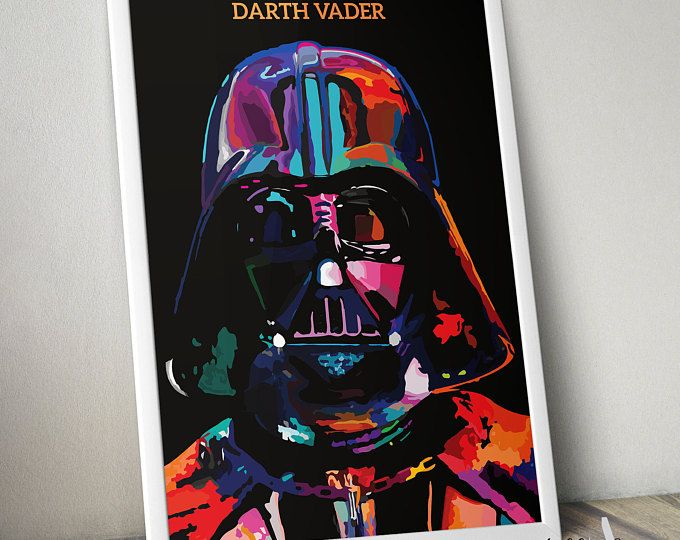 Star Wars Poster Print- Darth Vader | Colourful Painting | Star Wars Art | Digital Download | Minimalist | Abstract Art | Movie Poster
