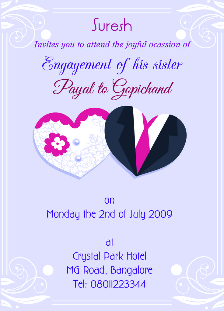 Engagement invitation card for sister with wordings Check it out