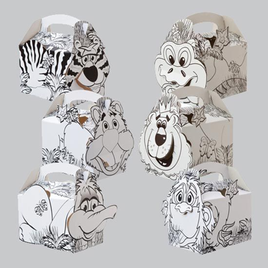 Jungle Theme Colouring In Party Box - Single | Partyrama.co.uk
