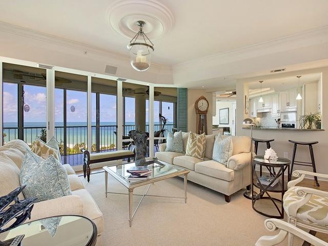 Coastal Living Room, Ocean View, On the Beach, Park Shore, Naples, Florida