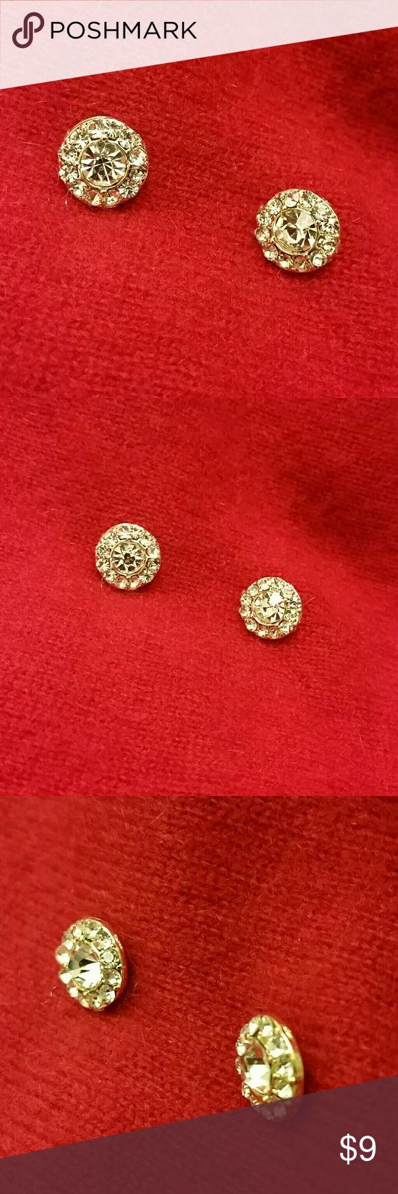 """Ellen Tracy earrings Gold tone earrings with rhinestones. Circle design measures about 1/2"""" across. NEVER WORN...NWOT Ellen Tracy Jewelry Earrings"""