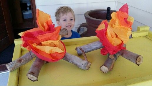 Table center pieces - I attached it all together with wire and used sticks and colored crepe paper for the flames