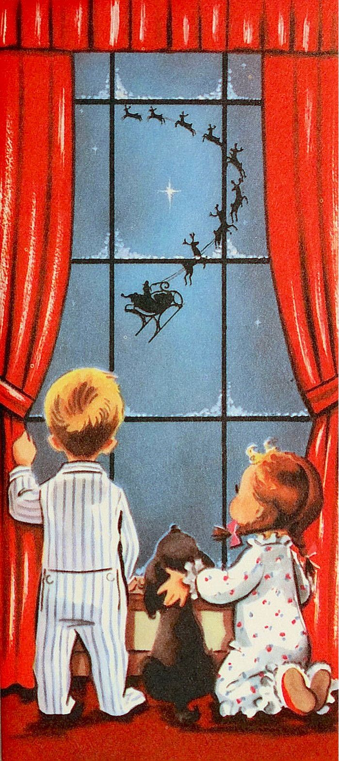 "Vintage Christmas card with children watching Santa and his reindeer in flight. The inside message reads: ""Hope your Christmas is a happy one."" #CKCrackingChristmas"
