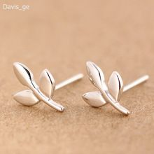Womens 100% 925 Sterling Silver Jewelry Tiny Leaves Earrings Gift Girls Kids Xmas Gift DS70