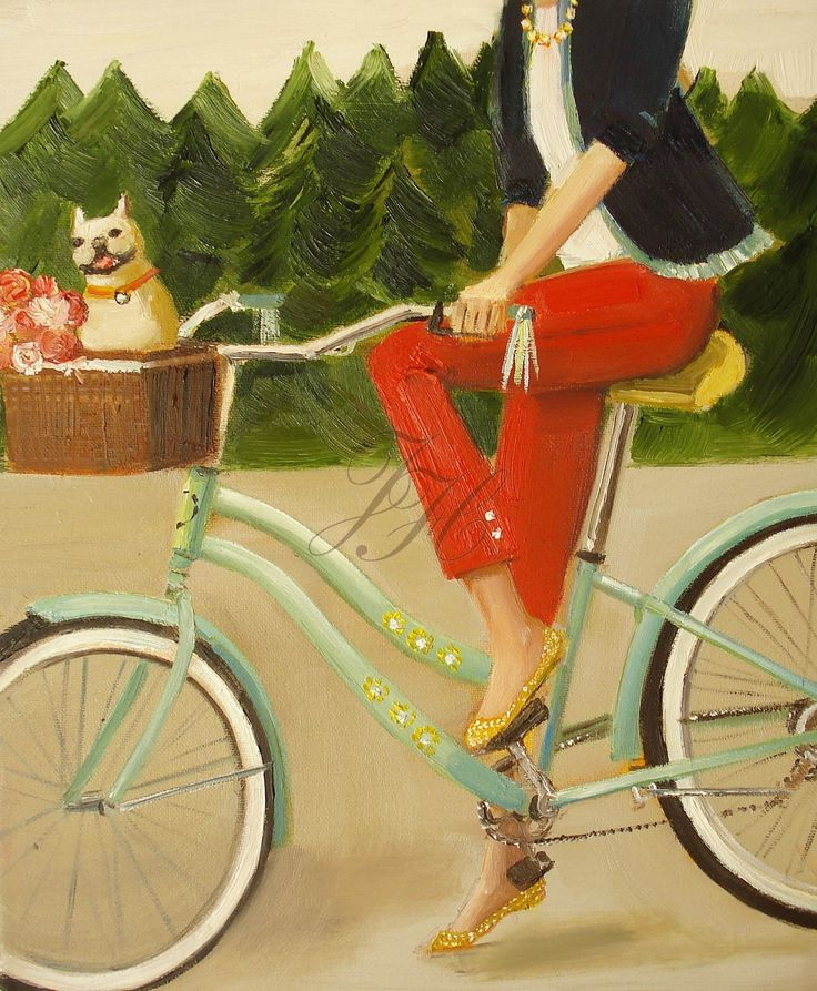 """""""Francine And Her Frenchie"""" by Janet Hill: Bicycles, Janet Hill, Etsy, Bike Riding, Illustration, Frenchi, Art Prints, Hill Studios, Paintings"""