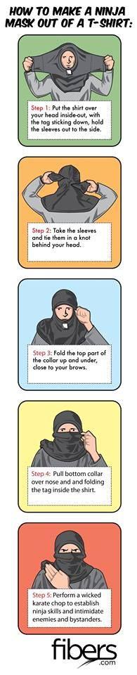 Astuce : Masque Ninja avec un T.Shirt    A quoi sa sert !   _ Hé bien sa peut servir par exemple  en cas d'incendie !   Vous trempez un t.shirt & vous le mettez comme  sur le schéma ci-dessous, sa permet de protégé  la tête & les épaules des flammes le temps d'évacué   rapidement les lieux !  (& voire a permettre de respirer un peut moins de fumée)    sa peut aussi servir comme camouflage ou se protégé du froid.