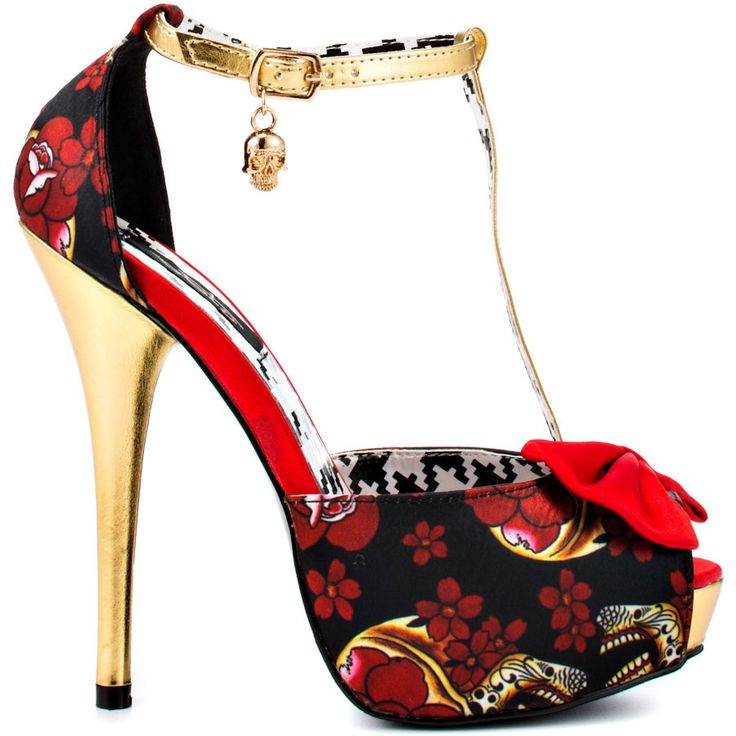 You'll dance to death in this fun and haunted style by Iron Fist.  Skeletons and floral print cover the fabric upper while a bright red bow at the vamp and t-strap add a unique spin.  You'll love the balance of the 5 1/2 inch stiletto heel and 1 inch platform.