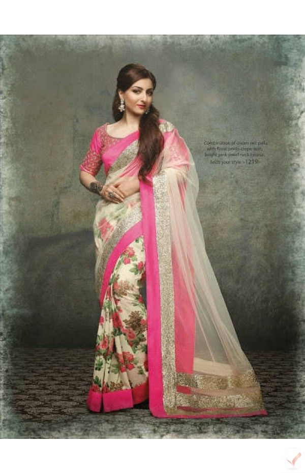 Beautiful combination of cream net pallu with floral print skirt and bright pink Jewel neck blouse.